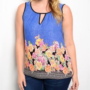 Sale Blue Floral Print Plus Size Top